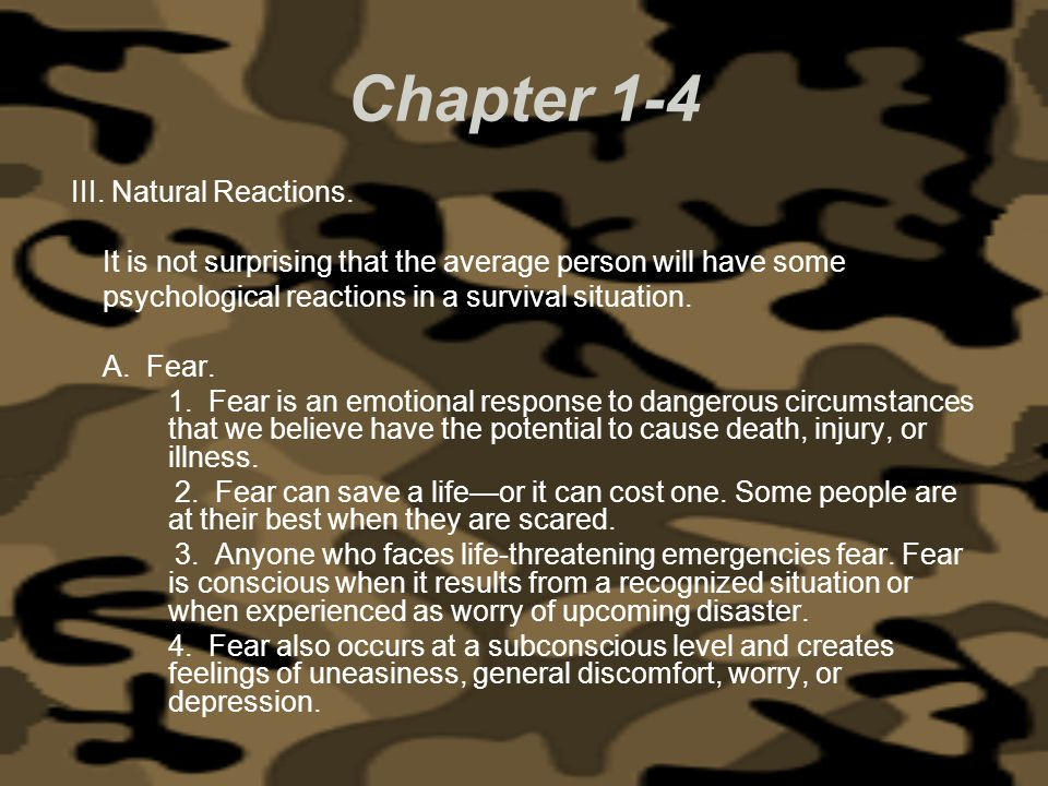 Chapter 1-4 III. Natural Reactions.