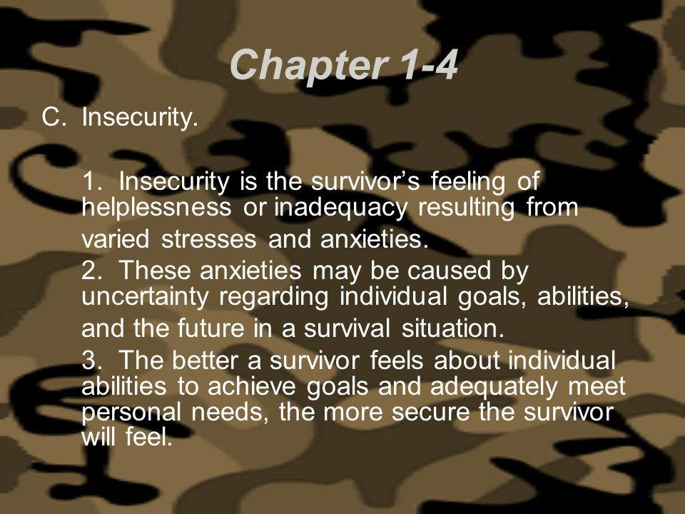 Chapter 1-4 Insecurity. 1. Insecurity is the survivor's feeling of helplessness or inadequacy resulting from.