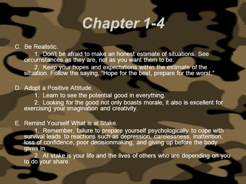 Chapter 1-4 C. Be Realistic.
