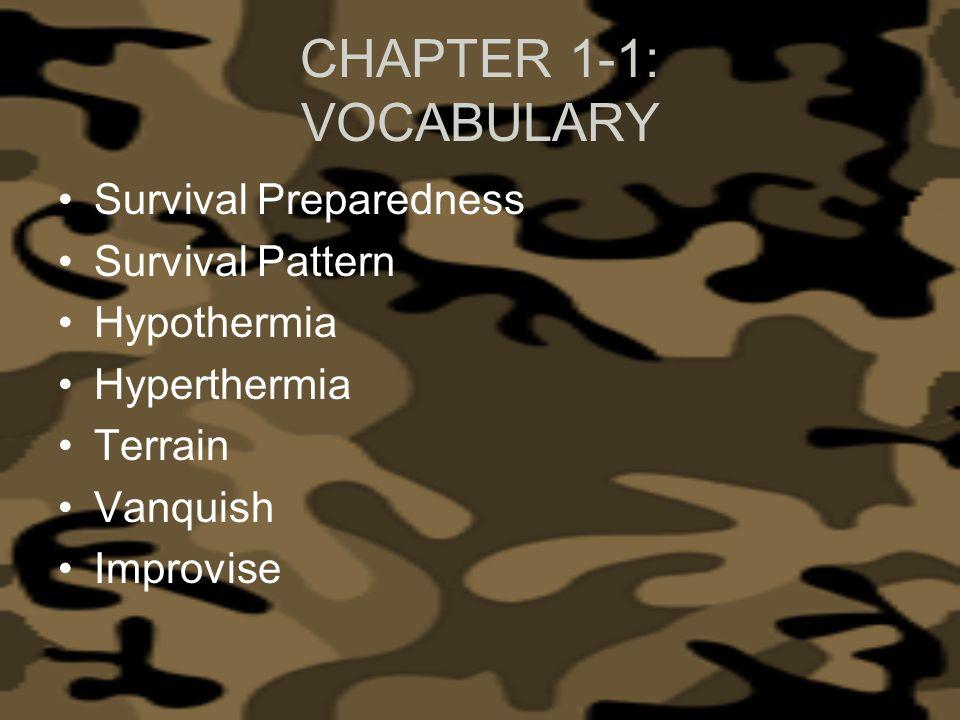 CHAPTER 1-1: VOCABULARY Survival Preparedness Survival Pattern