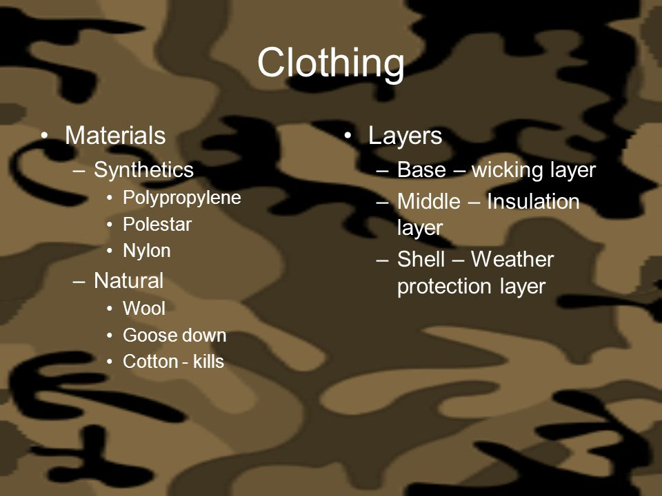 Clothing Materials Layers Synthetics Natural Base – wicking layer