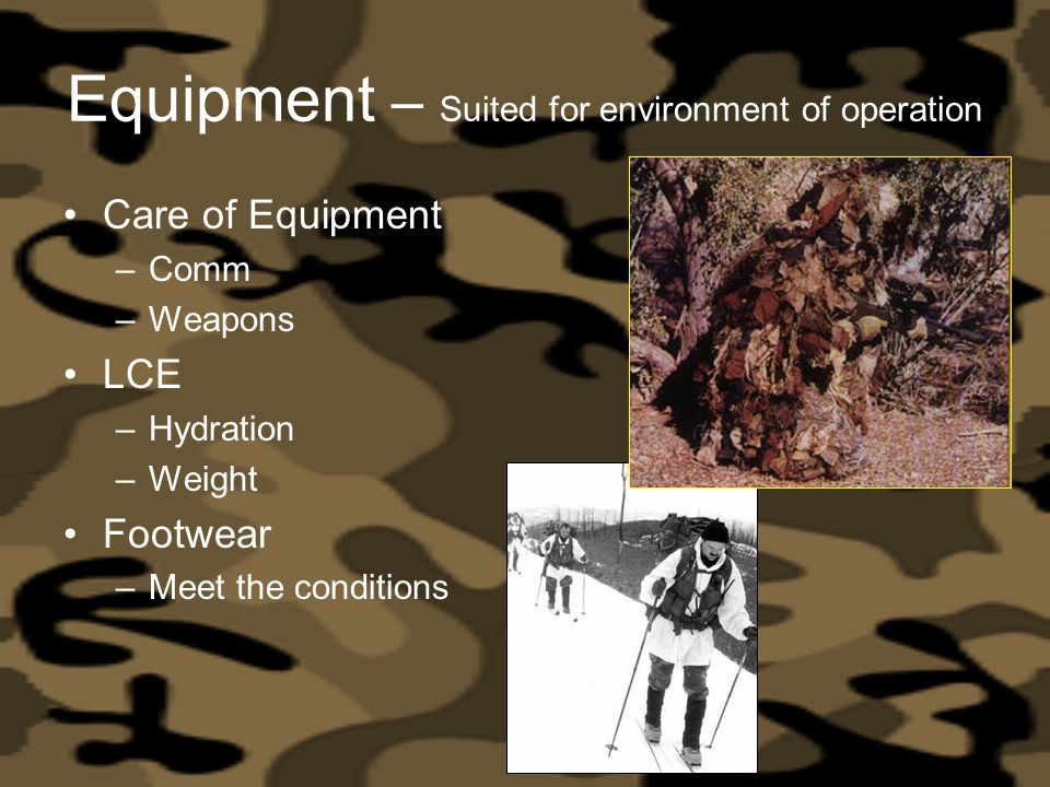 Equipment – Suited for environment of operation