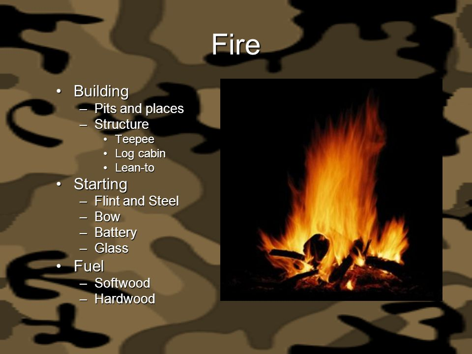 Fire Building Starting Fuel Pits and places Structure Flint and Steel