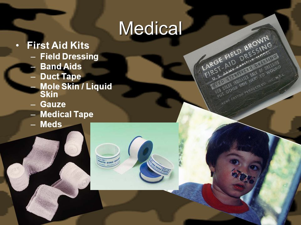 Medical First Aid Kits Field Dressing Band Aids Duct Tape