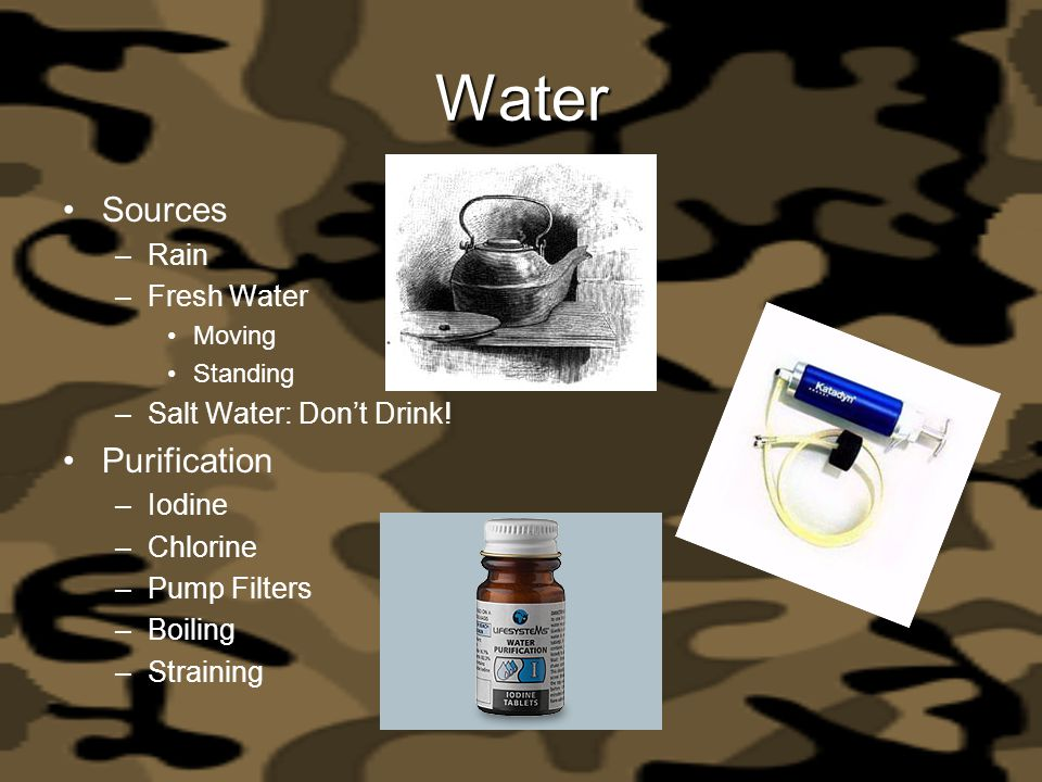 Water Sources Purification Rain Fresh Water Salt Water: Don't Drink!