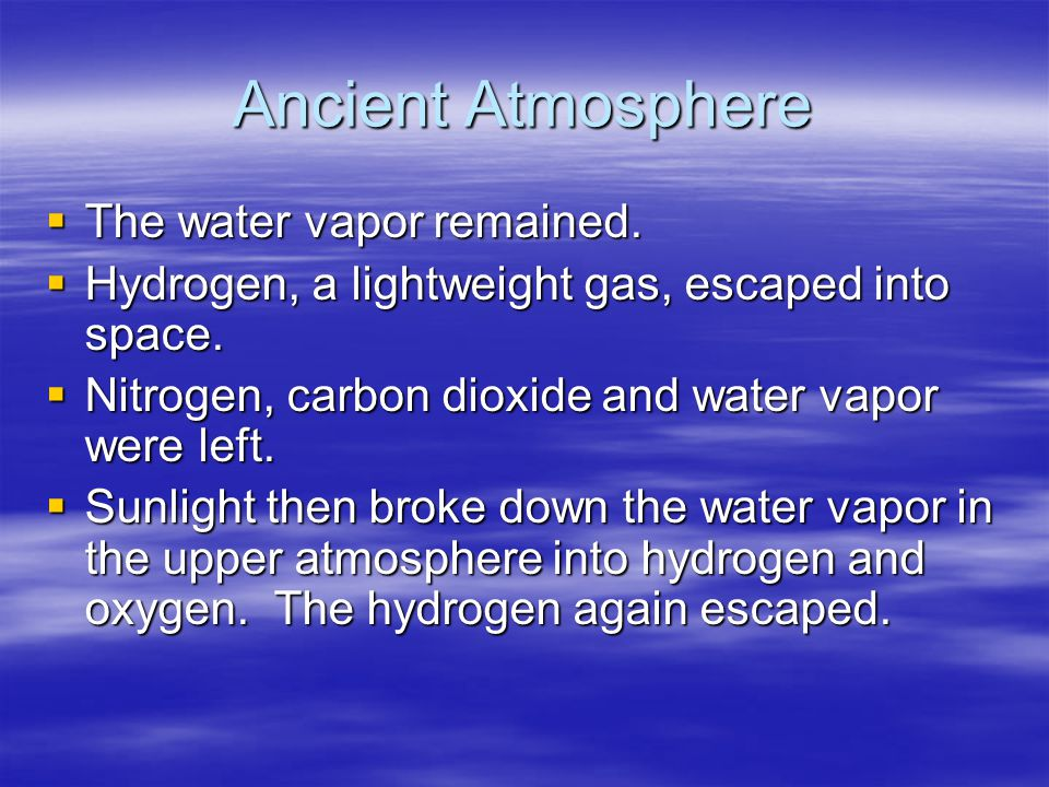 Ancient Atmosphere The water vapor remained.