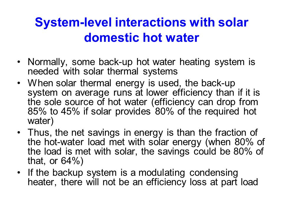 System-level interactions with solar domestic hot water
