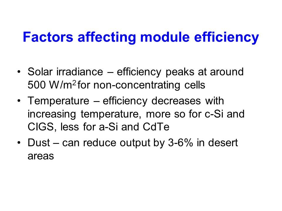 Factors affecting module efficiency