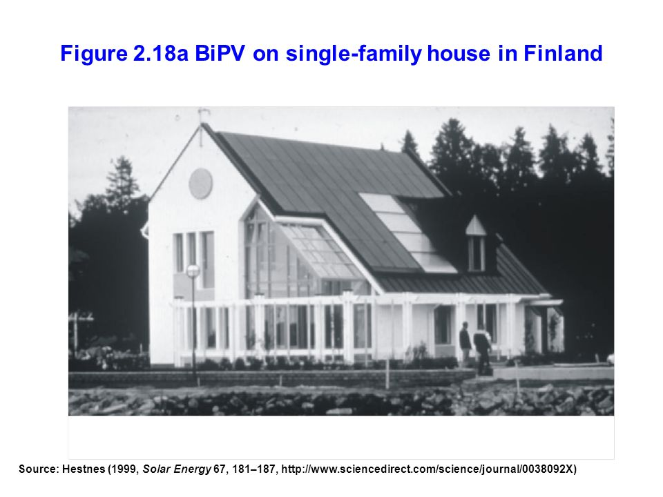 Figure 2.18a BiPV on single-family house in Finland