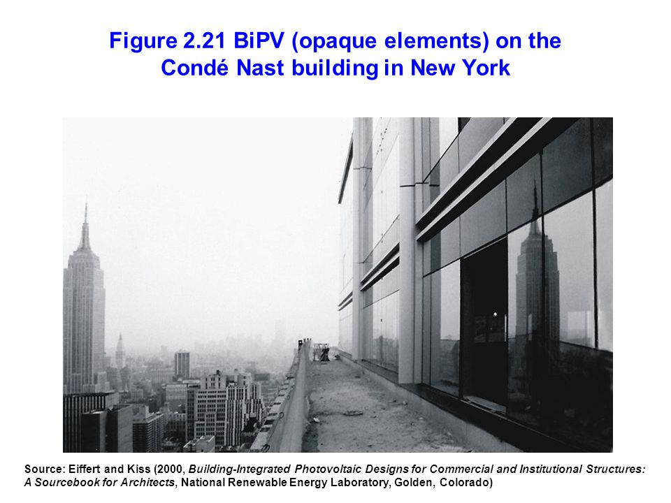 Figure 2.21 BiPV (opaque elements) on the Condé Nast building in New York