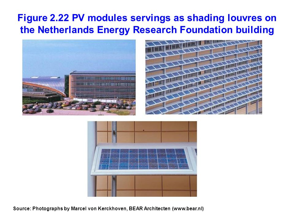 Figure 2.22 PV modules servings as shading louvres on the Netherlands Energy Research Foundation building