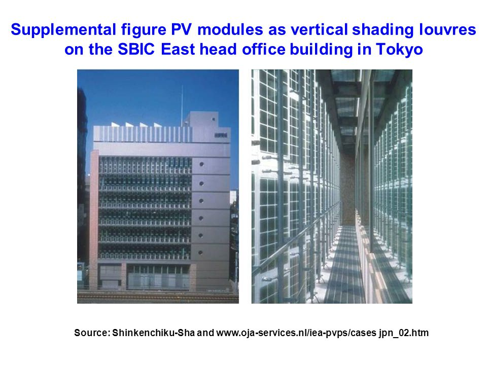 Supplemental figure PV modules as vertical shading louvres on the SBIC East head office building in Tokyo