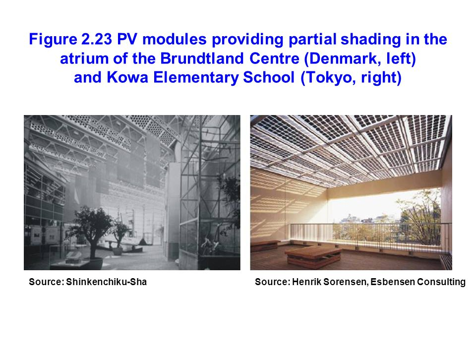 Figure 2.23 PV modules providing partial shading in the atrium of the Brundtland Centre (Denmark, left) and Kowa Elementary School (Tokyo, right)
