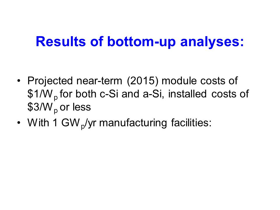 Results of bottom-up analyses: