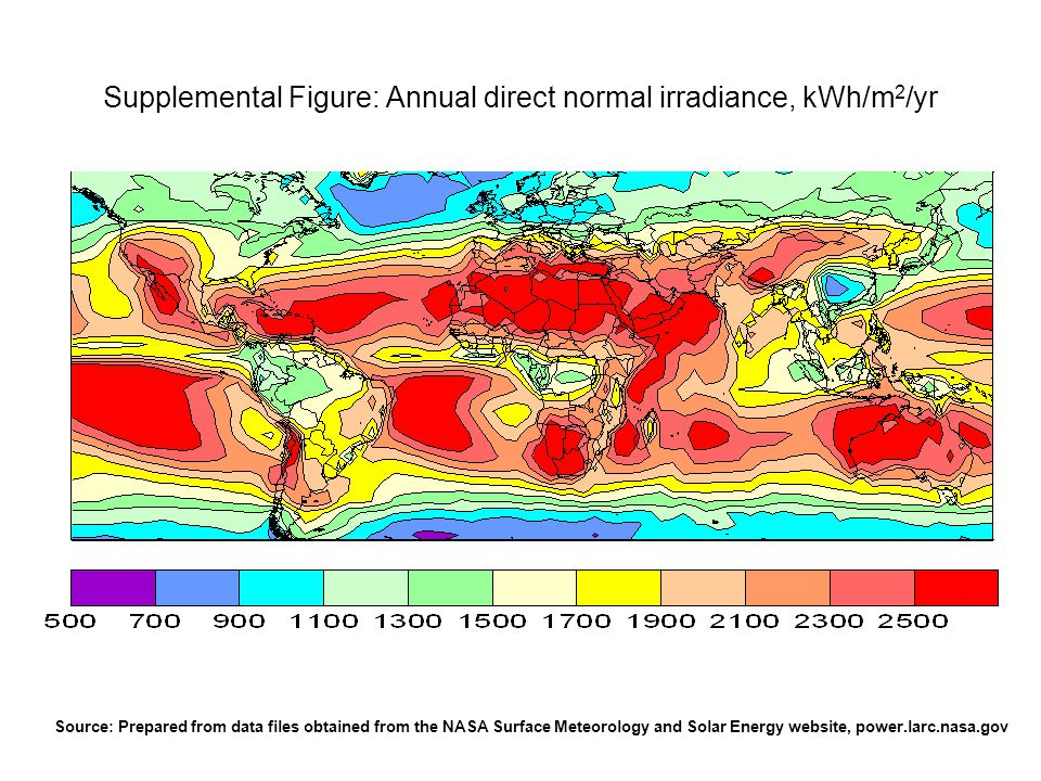 Supplemental Figure: Annual direct normal irradiance, kWh/m2/yr