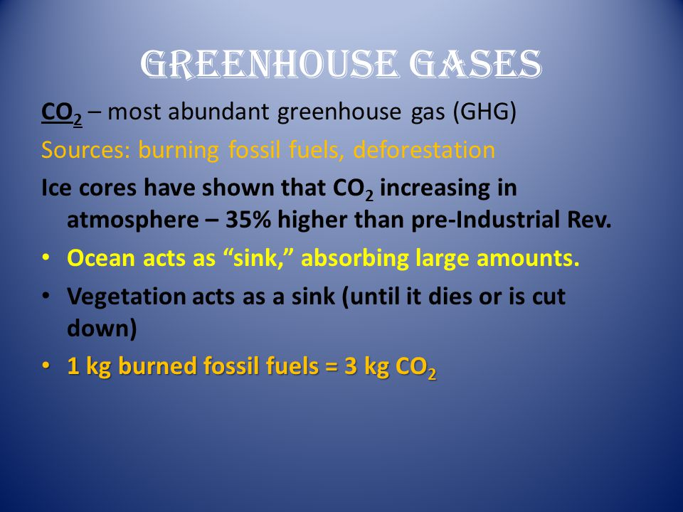 Greenhouse Gases CO2 – most abundant greenhouse gas (GHG)