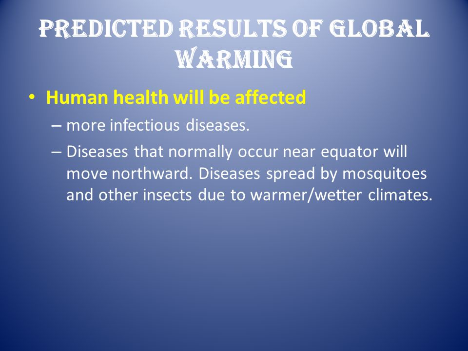 Predicted Results Of Global Warming
