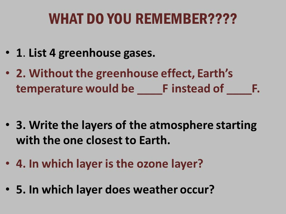 WHAT DO YOU REMEMBER 1. List 4 greenhouse gases.