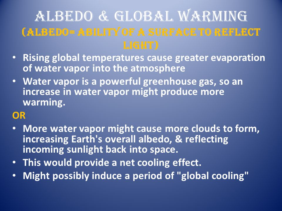 Albedo & Global Warming (albedo= ability of a surface to reflect light)