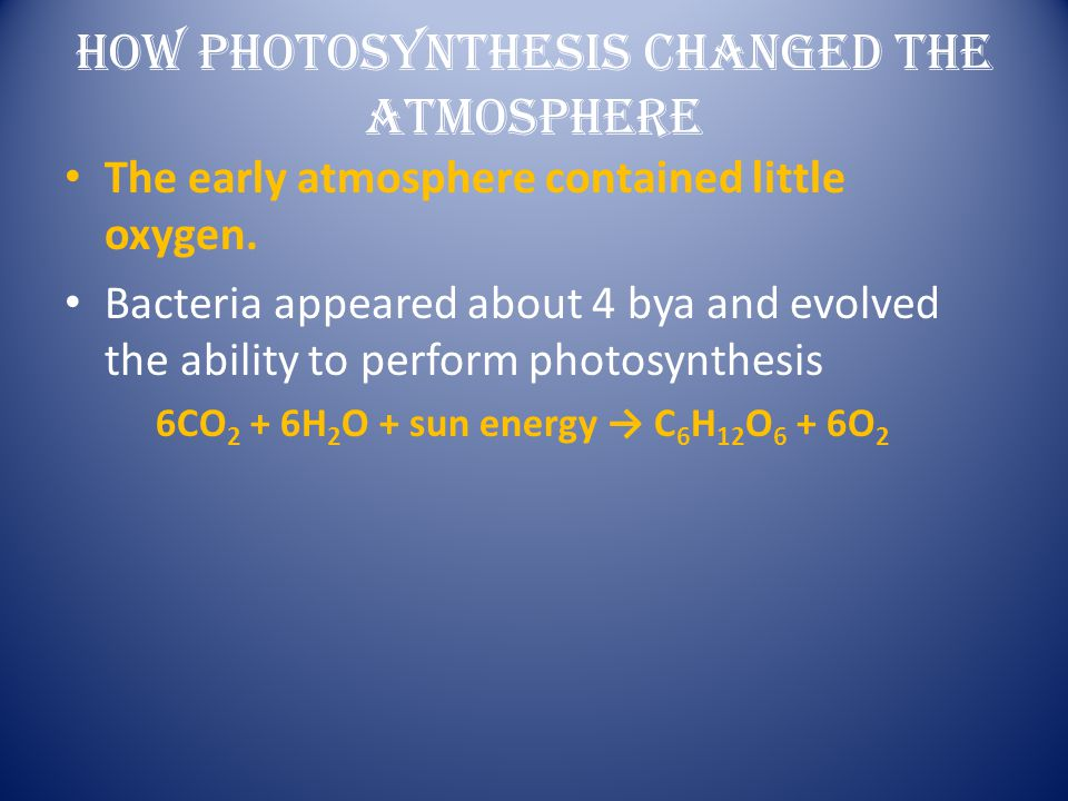 HOW PHOTOSYNTHESIS CHANGED THE ATMOSPHERE
