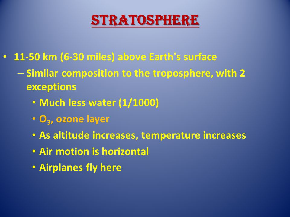 Stratosphere 11-50 km (6-30 miles) above Earth s surface