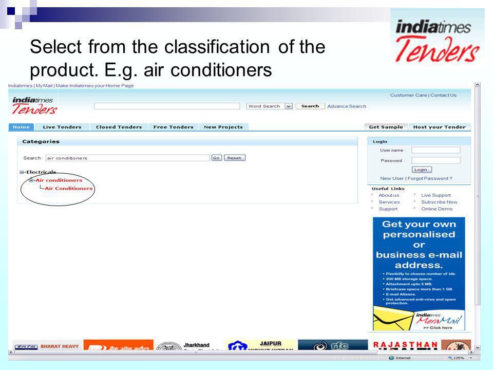 Select from the classification of the product. E.g. air conditioners