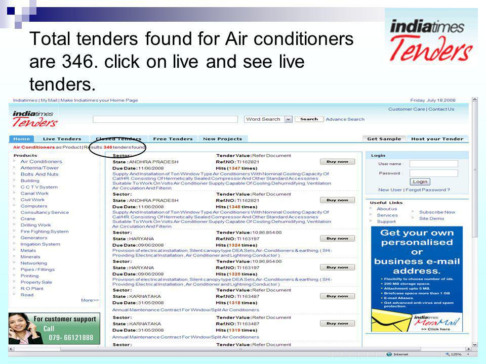 Total tenders found for Air conditioners are 346