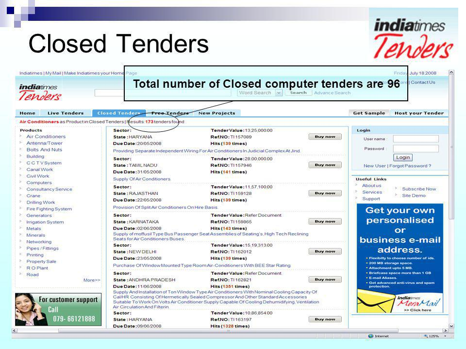 Total number of Closed computer tenders are 96