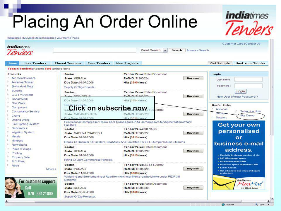 Placing An Order Online