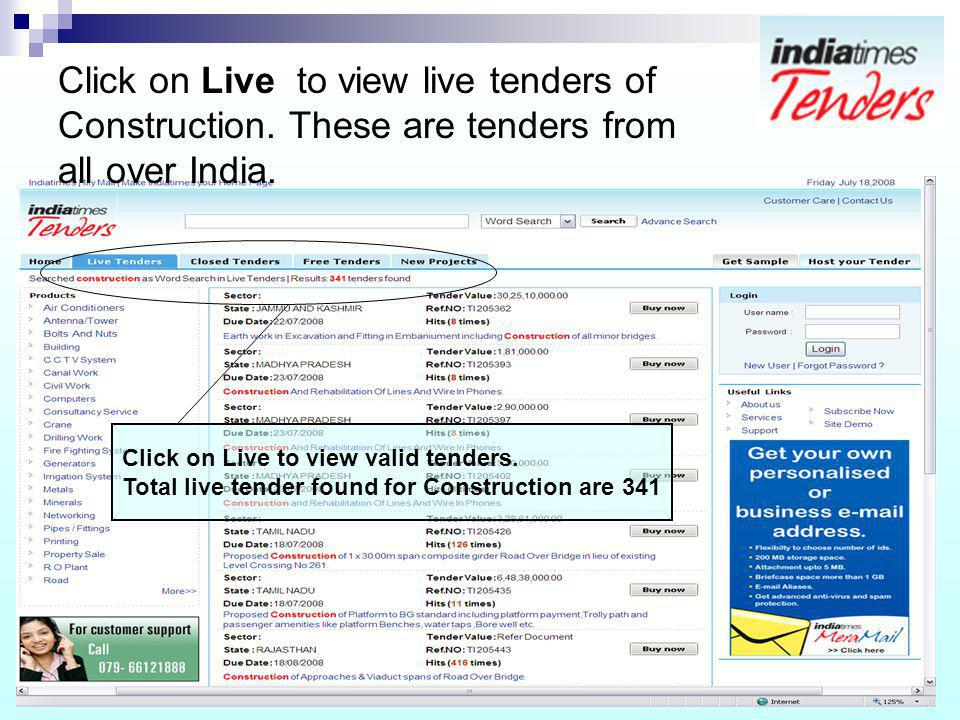 Click on Live to view live tenders of Construction