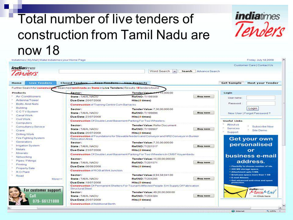 Total number of live tenders of construction from Tamil Nadu are now 18