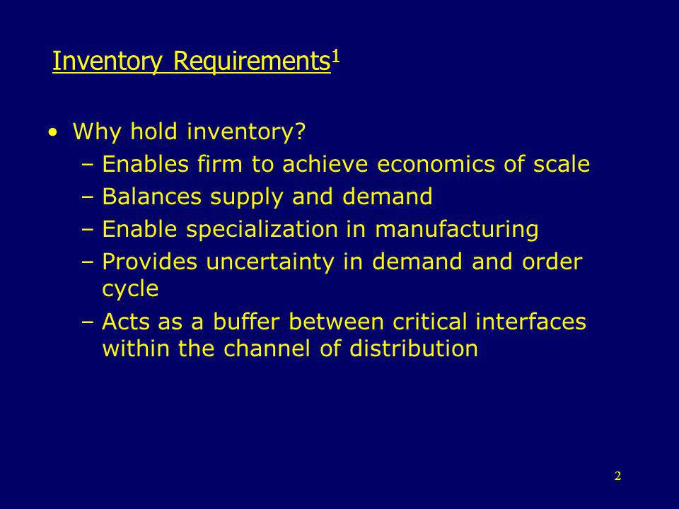 Inventory Requirements1