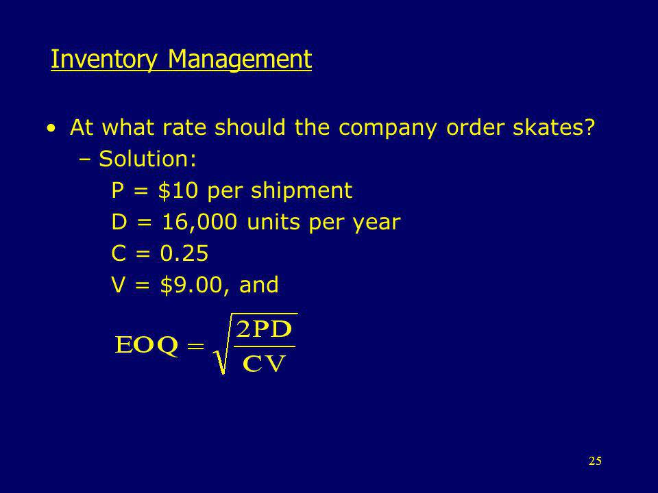 Inventory Management At what rate should the company order skates