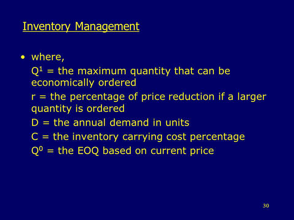 Inventory Management where,