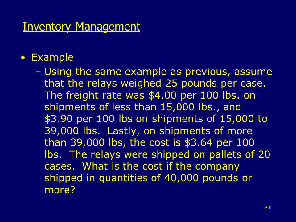 Inventory Management Example