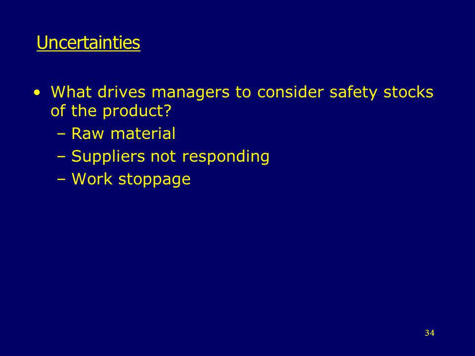 Uncertainties What drives managers to consider safety stocks of the product Raw material. Suppliers not responding.