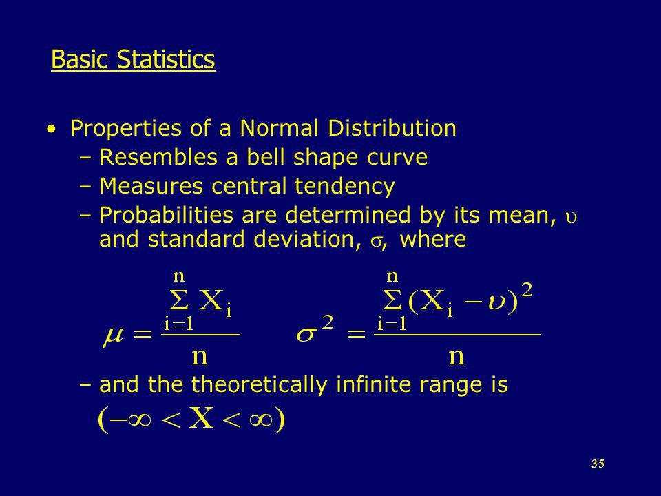 Basic Statistics Properties of a Normal Distribution