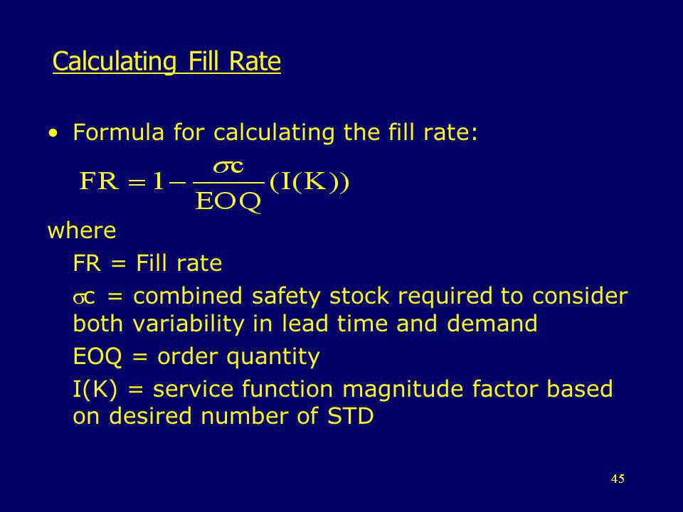 Calculating Fill Rate Formula for calculating the fill rate: where