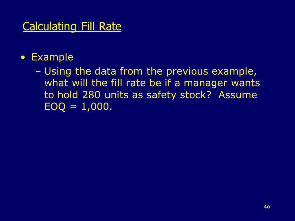 Calculating Fill Rate Example