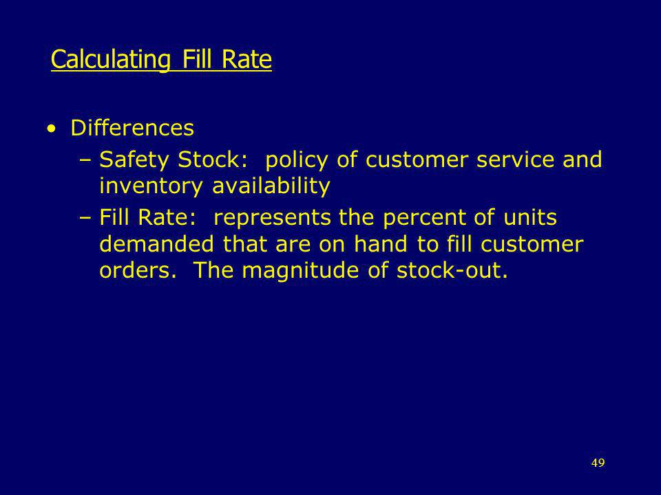 Calculating Fill Rate Differences