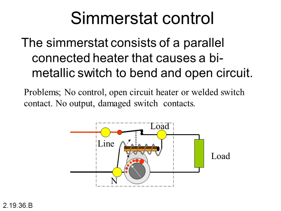 Simmerstat control The simmerstat consists of a parallel connected heater that causes a bi-metallic switch to bend and open circuit.