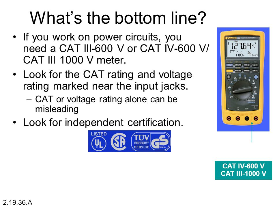 What's the bottom line If you work on power circuits, you need a CAT III-600 V or CAT IV-600 V/ CAT III 1000 V meter.