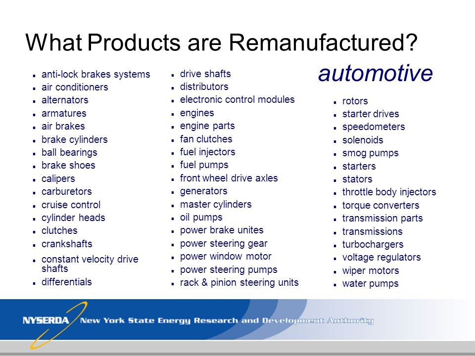 What Products are Remanufactured