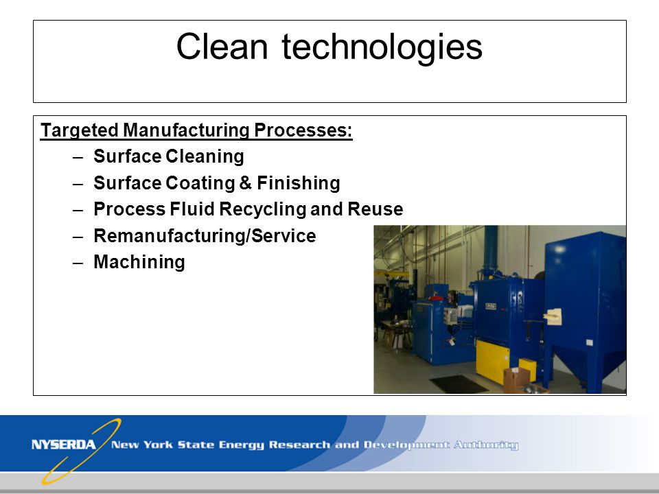 Clean technologies Targeted Manufacturing Processes: Surface Cleaning