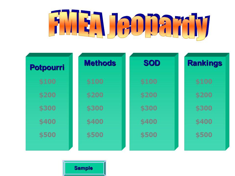 FMEA Jeopardy Potpourri Methods SOD Rankings $100 $100 $100 $100 $200