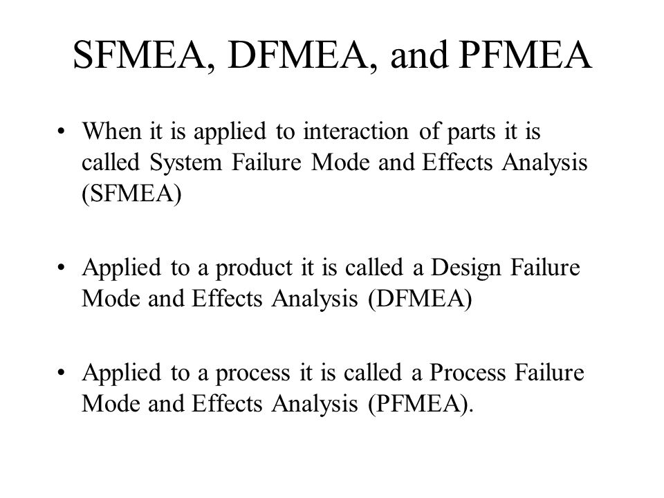 SFMEA, DFMEA, and PFMEA When it is applied to interaction of parts it is called System Failure Mode and Effects Analysis (SFMEA)