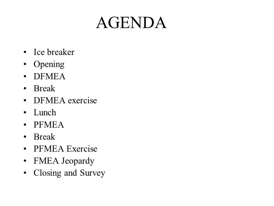 AGENDA Ice breaker Opening DFMEA Break DFMEA exercise Lunch PFMEA