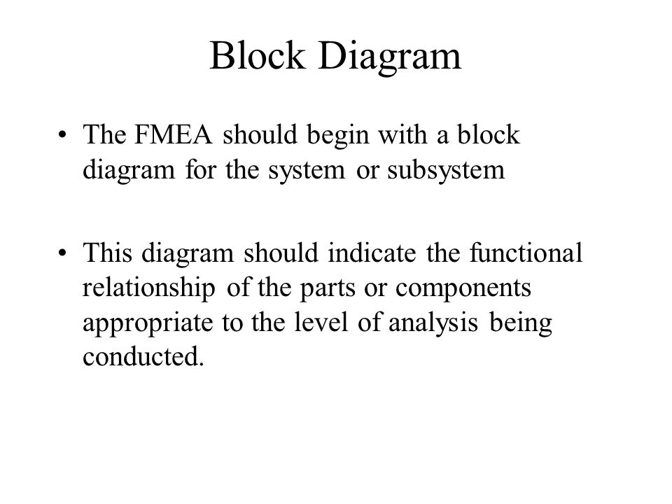 Block Diagram The FMEA should begin with a block diagram for the system or subsystem.
