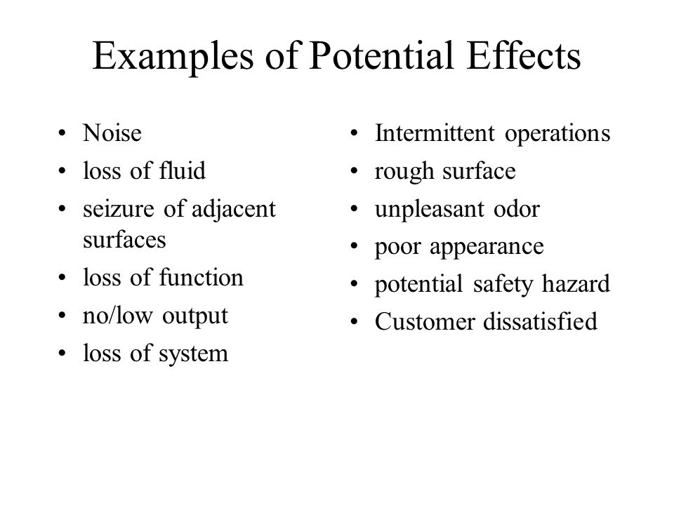 Examples of Potential Effects
