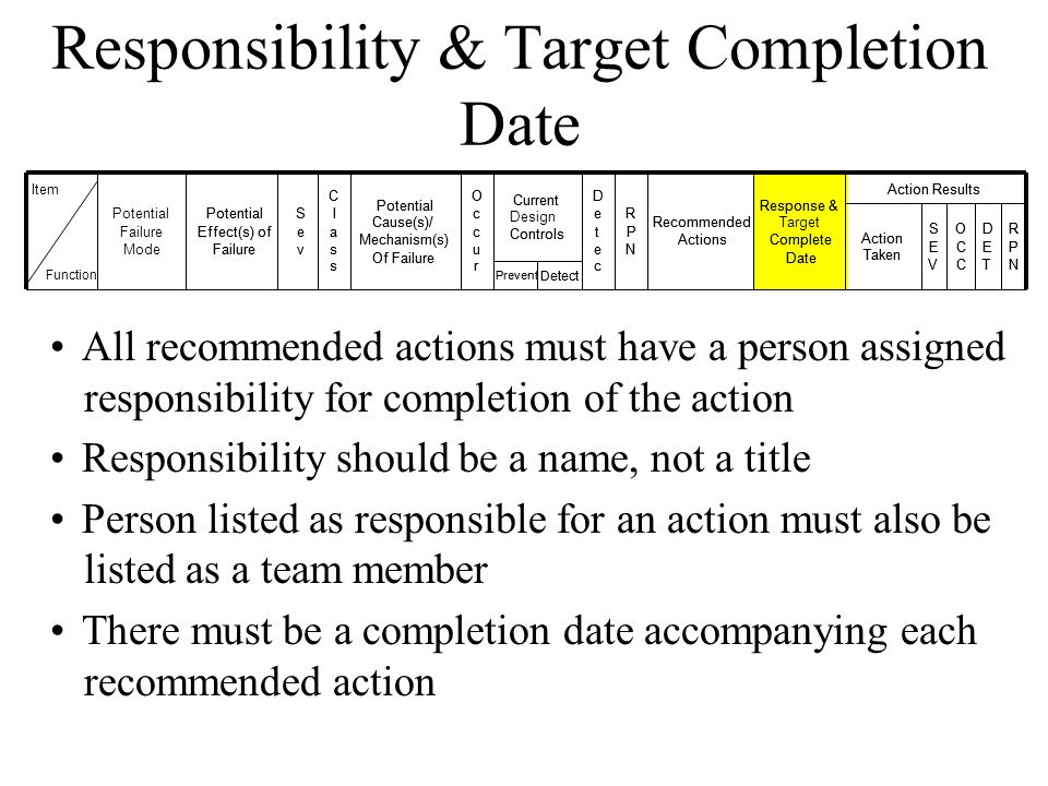 Responsibility & Target Completion Date
